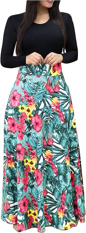 Summer Dresses Women Long Sleeve Floral Printed Casual O-Neck Patchwork Dress Maxi Dress