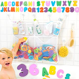 The Really Big Tub Cubby Baby Bath Toy Organizer + 36 Foam Letters & Numbers + Large Quick Dry Bathtub Storage Net + 6X Lo...