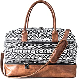 MyMealivos Canvas Weekender Bag, Overnight Travel Carry On Duffel Tote with Shoe Pouch (black)