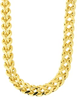 "14K Yellow Gold 6.4mm Shiny Diamond-Cut Square Franco Chain Necklace for Pendants and Charms with Lobster-Claw Clasp (, 24"" or 26 inch)"