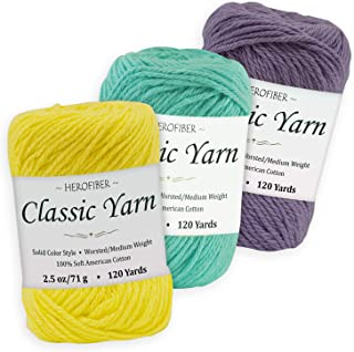 Cotton Yarn Assortment | Lemon Yellow + Aqua + Iris Purple | 2.5oz / Ball - 3 Solid Colors - Worsted/Medium Weight - for Knitting, Crochet, Needlework, Decor, Arts & Crafts Projects