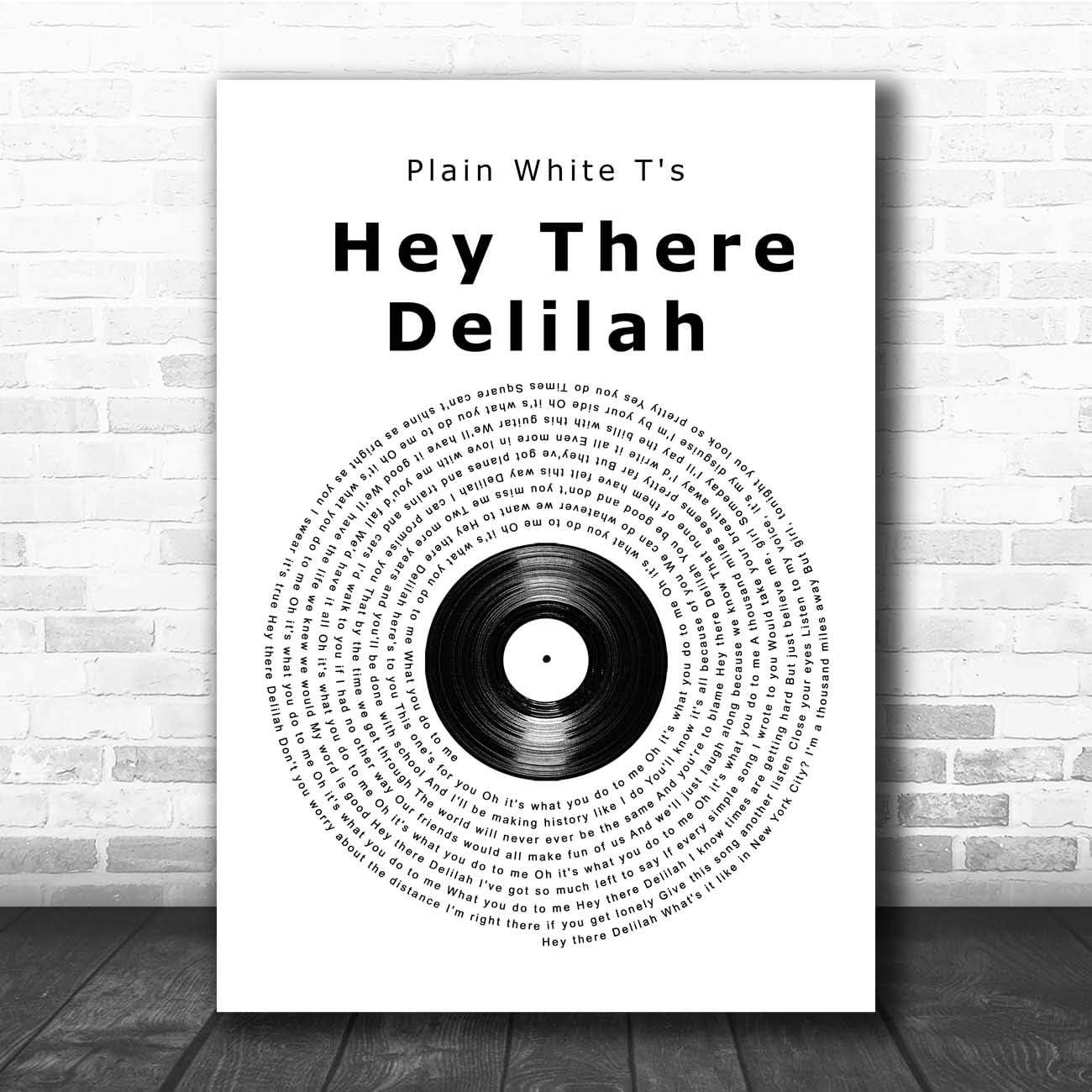 Delilah Vinyl Record Song Lyric Quote Print