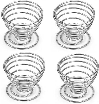 Preisvergleich für Leisial 4 Stück Eierbecher Metall Eierbecher Halter Spiralfeder Draht Tablett Eierbecher 5*5CM