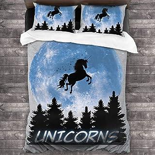 Unicorn Moon Sparkle Juego de Cama de 3 Piezas Funda nórdica Juego de Cama Decorativo de 3 Piezas con 2 Fundas de Almohada