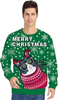 Men Women Ugly Christmas Sweater Unisex Long Sleeve Crewneck Pullover Tops for Xmas Party