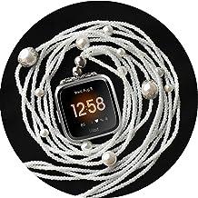 گردنبند UseeTech سازگار با بند ساعت هوشمند Fitbit Versa نوین مروارید سفید دو حلقه دو دستبند بند گردن بند دست ساز لوازم جانبی جایگزین آداپتور فناوری پوشیدنی آداپتور پوشیدنی