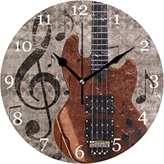 Vintage musik not gitarr väggklocka tyst icke-tickande 25 cm rund klocka akryl konstmålning hem kontor skoldekor