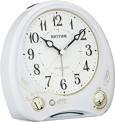 リズム(RHYTHM) 目覚まし時計 メロディ付き 連続秒針 アリアカンタービレN 白 13.6×13.5×7.9cm 8RM400SR03