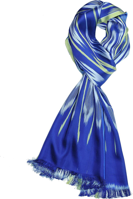 100% Silk Scarf-Fringed Ethnic Style Ladies Fashion Scarf Shawl Silk Scarf All-Match Shawl Light wrap (Dark Blue)