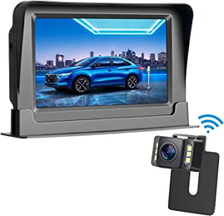 Rohent HD Color Wireless Backup Camera and 4.3 Monitor System For Cars/SUVs/MiniVans the latest LED Night Vision IP69 Waterproof Rear/Front View Camera Guide Lines On/Off Reversing Use