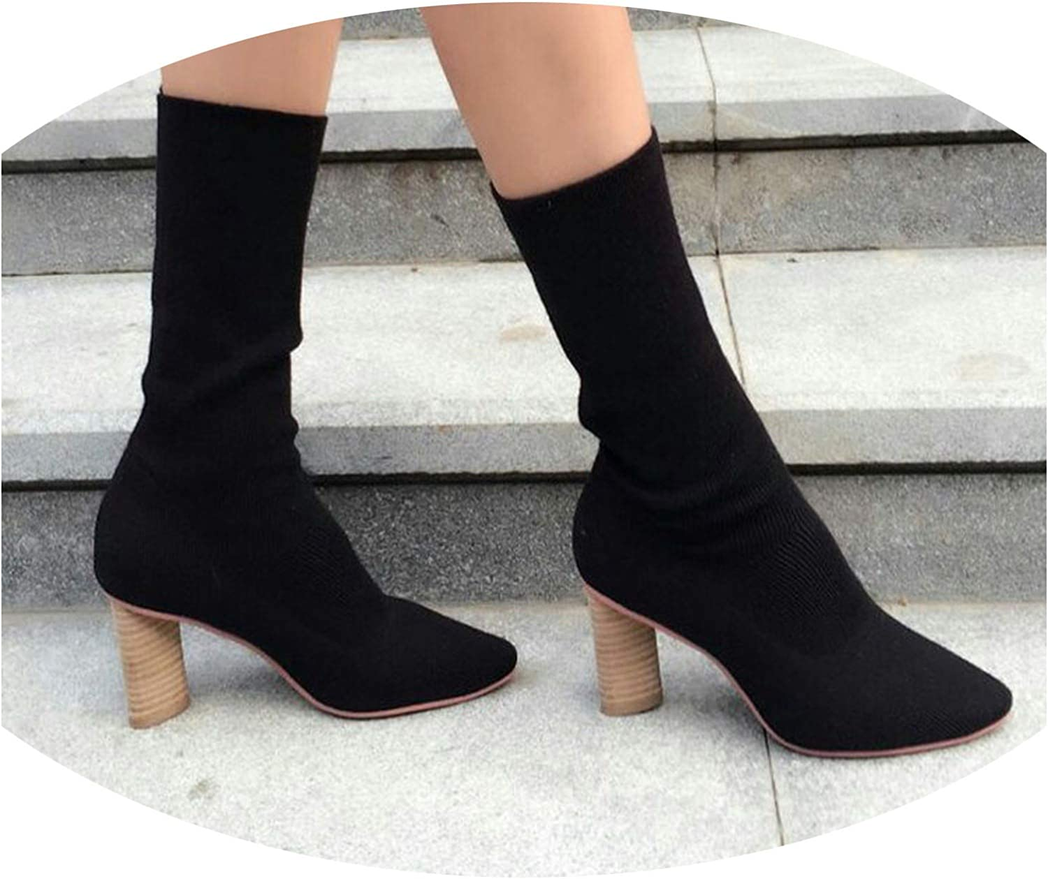 Elasticity Women Boots High-Heeled Boots Socks Boots Thick Heel Fashion Ladies Boots Apricot