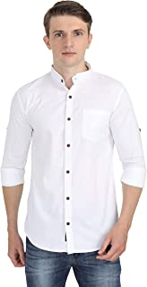 Carbonn Blue Men Chinese Collar White Full Sleeves Solid Shirt
