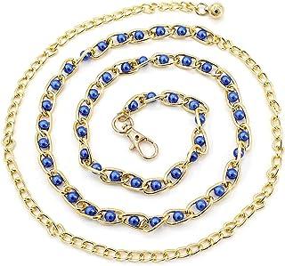 فستان حزام خصر عصري تقليدي مزين بالخرز اللؤلؤي رفيع الخصر سلسلة حزام خصر للنساء إكسسوارات الفساتين 9 ألوان (اللون: أزرق ملكي)