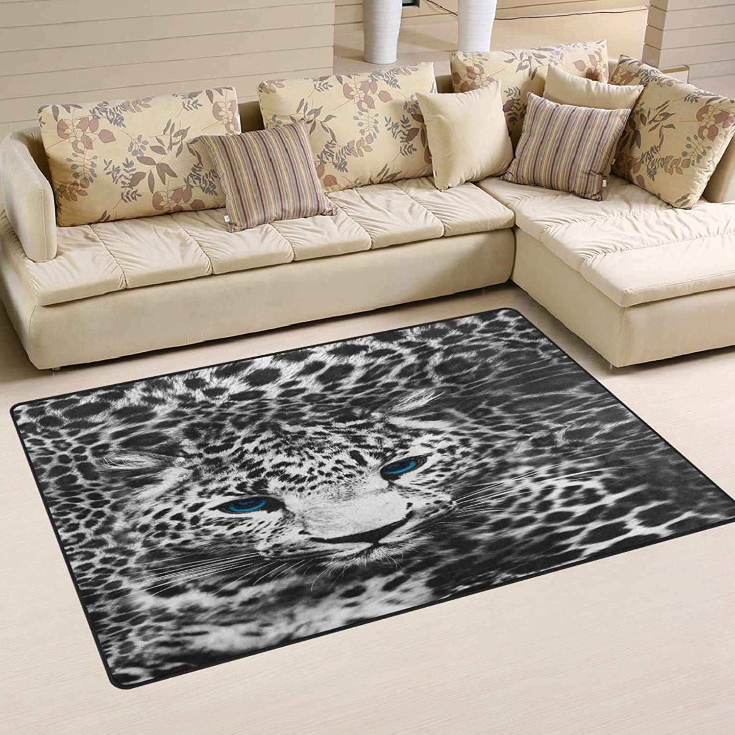 Area Rugs Doormats Animal Leopard Black White 5'x3'3 (60x39 Inches) Non-Slip Floor Mat Soft Carpet for Living Dining Bedroom Home