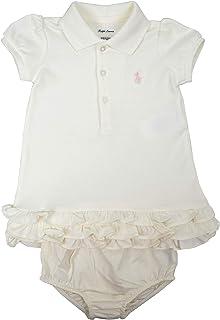 3742c0222 Ralph Lauren Polo Baby Girls Cotton Two Piece Ruffled Hem Polo Shirt Dress  Set White