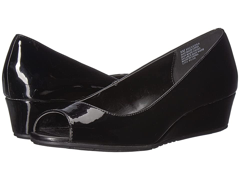1940s Style Shoes, 40s Shoes Bandolino Candra Black Patent Sleek Patent PU Womens Wedge Shoes $59.00 AT vintagedancer.com