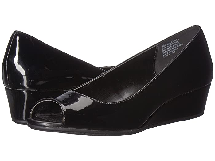 1940s Style Shoes, 40s Shoes Bandolino Candra Black Patent Sleek Patent PU Womens Wedge Shoes $35.40 AT vintagedancer.com