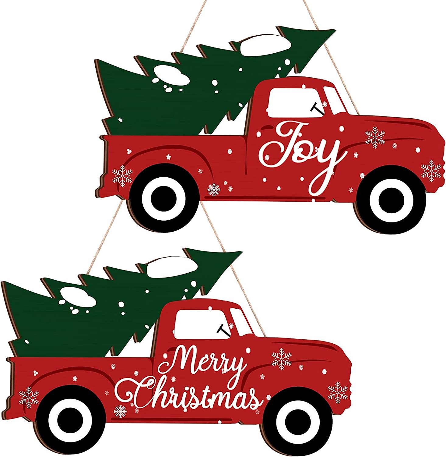 Blulu Christmas Joy Red Truck Sign 2 Pieces Christmas Door Decor Christmas Joy Farmhouse Hanging Wall Porch Decorations Large Holiday Display Decor for Home Front Door Christmas Tree Decoration