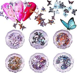 Kalolary 6 Dozen 3D Vlinder Nagel Art Glitter Pailletten, Vlinder Nagel Pailletten Acryl Paillettes, Holografische Nagel S...
