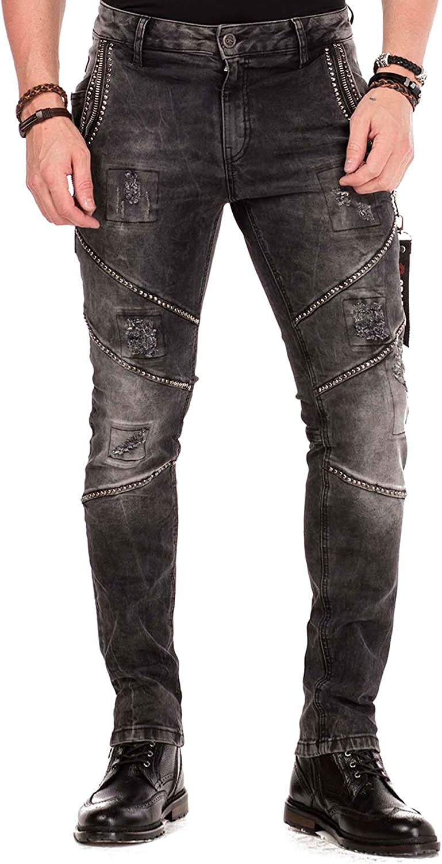Cipo & Baxx Jeans homme noir élastique avec rivets, fermeture éclair effet déchiré Noir