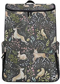 Christmas Deer Bunny Rabbit Floral Gym Backpack with Shoe Compartment Travel Bag Casual Vintage Daypacks