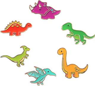 Charming Colorful Dinosaur Enamel Pin Set - Set of 6 - Brooches Pin Badges for Clothing Bags Backpacks Jackets Hat DIY