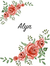Alyn: Personalized Notebook with Flowers and First Name - Floral Cover (Red Rose Blooms). College Ruled (Narrow Lined) Journal for School Notes, Diary Writing, Journaling. Composition Book Size