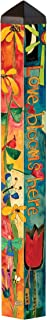 Studio M Love Garden Art Pole Bold Floral Outdoor Decorative Garden Post, Made in USA, 40 Inches Tall