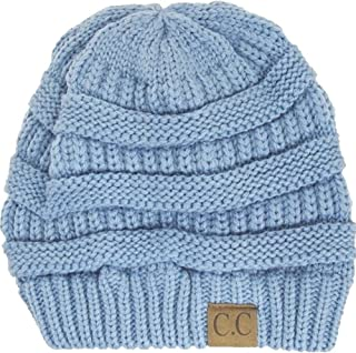 Thick Knit Soft Stretch Beanie Cap - Denim