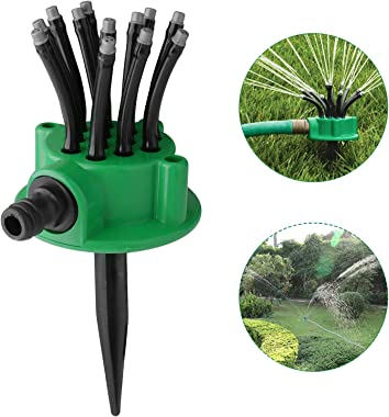 USHAWN Sprinkler,Rotating Sprinkler for Lawn and Garden with Up to 3,000 Sq.Ft Coverage,360° Flexible Lawn Sprinkler Automati