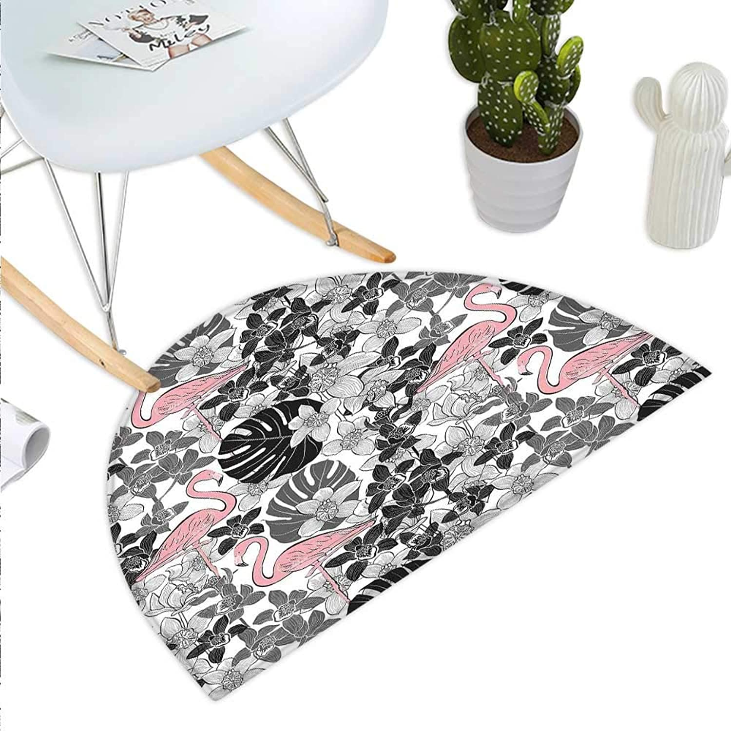 Flamingo Semicircle Doormat Flamingos Pattern Leaves and Flowers Tropical Plants on The Background Halfmoon doormats H 39.3  xD 59  Black Grey Pale Pink