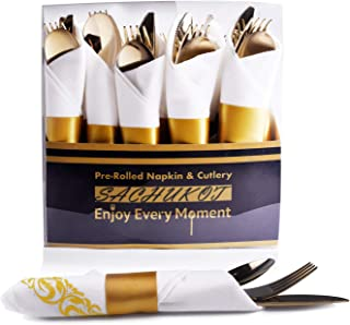 60 Pieces Disposable Gold Pre Rolled Napkin and Cutlery Set,Silver Plastic Cutlery Set,Gold Heavy Weight Plastic Silverware, 20 Forks, 20 Spoons and 20 Knives in Rolled Napkins for Catering Events, Parties, BPA Free