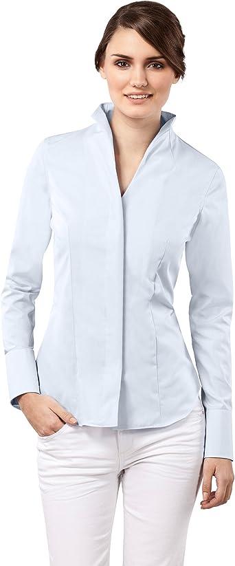 Vincenzo Boretti Camisa de Mujer Elegante y clásica, Ligeramente más angosta (Modern-fit), 100% algodón, Manga-Larga, Cuello cáliz, Lisa - no Necesita ...