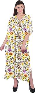 RADANYA Women's Flowers Printed Caftan 3/4 Sleeve V-Neck Maxi Dress Kaftan Long Dress