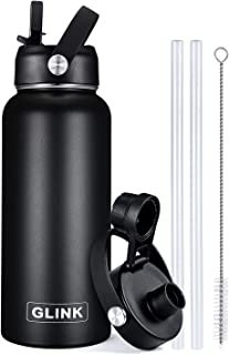Glink Stainless Steel Water Bottle with Straw, 32-40 oz...