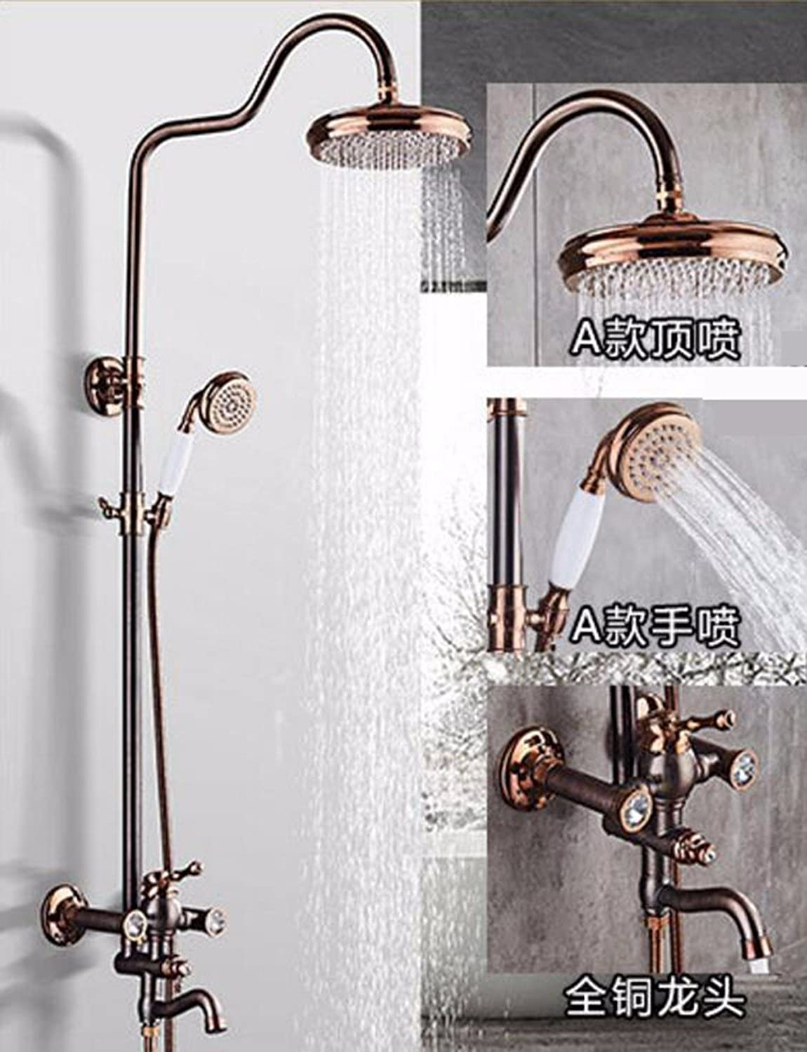 Shower European Faucet Set All Copper Surface Mounted Shower Set,A