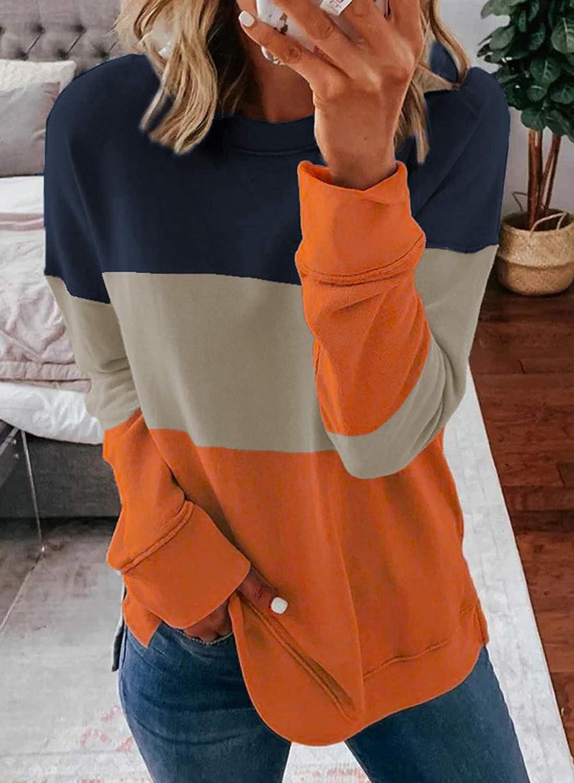 BTFBM Women Sweatshirts Tie Dye Print Striped Color Block Long Sleeve Comfy Loose Soft Casual T Shirts Pullover (S-2XL)