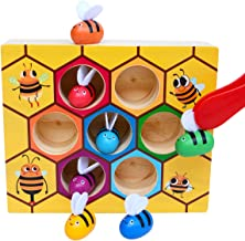 Onnetila Bee to Hive Matching Game, Toddler Fine Motor Skill Toy Kit, Wooden Color Sorting Puzzle Montessori Toys, STEM Learning Preschool Toy Gift for 2 3 4 Year Old Kids