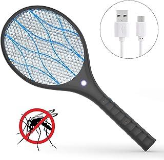 Xddias Raqueta Mosquitos Eléctrico, Anti Moscas Insectos Zapper Swatter Electrica, USB Recargabl...
