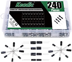 Keadic 0.1uF to1000uF Electrolytic Capacitor Assortment Box Kit, 24 Value, Total 240 Pieces