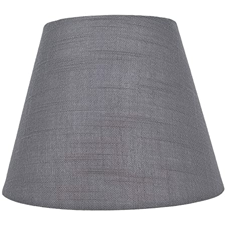 """Small Lamp Shade, Alucset Barrel Fabric Lampshade for Table Lamp and Floor Light, 6x10x7.5"""", Natural Linen Hand Crafted, Spider (Grey)"""