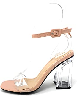 Wild Diva Lounge Womens Miley Peep Toe Clear Transparent Clear Block Heel Ankle Strap Sandals