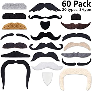 60 Pcs Fake Beard Self Adhesive [20 Designs] Novelty Hairy Mustaches Costume Facial Hair for Birthday and Halloween Party Supplies