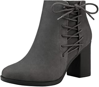 TOETOS Women's Faux Leather Pu Chunky Heel Ankle Boots