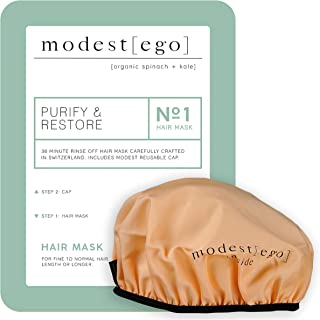 Modest Ego Purify & Restore Hair Mask & Cap with Organic Spinach & Kale, 20 ml