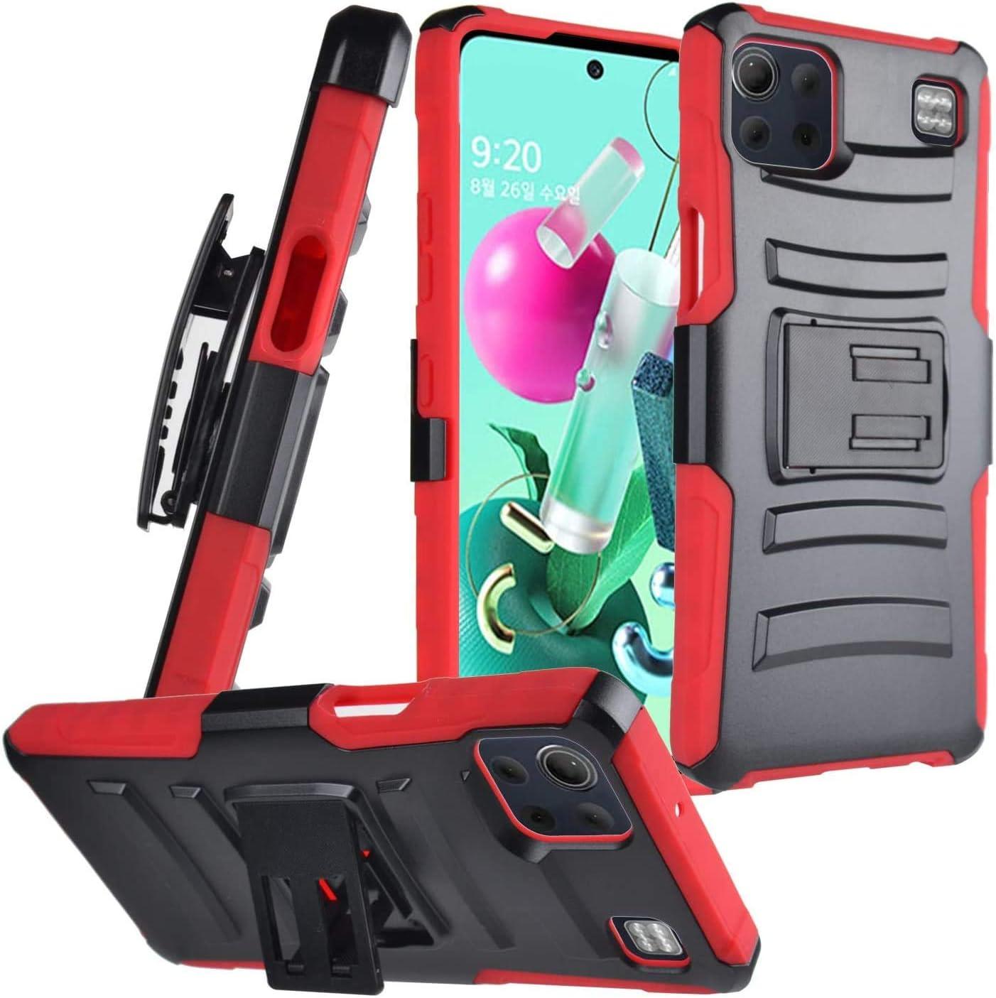 AmeriCase - [ LG K92 5G ] Hybrid Defender Phone Case W/Belt Clip Holster (Red)