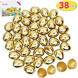 Max Fun 38 Pcs Golden Metallic Easter Eggs for Easter Theme Party Favor, Filling Specific Treats, Easter Hunt, Basket Stuffers Fillers, School Classroom Supply