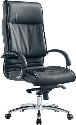 SalesFever Bürostuhl Rango   höhenverstellbar   Bezug Kunstleder in Schwarz   verchromtes Gestell   Rückenlehne mit Lordosenstütze   leicht runde Armlehnen