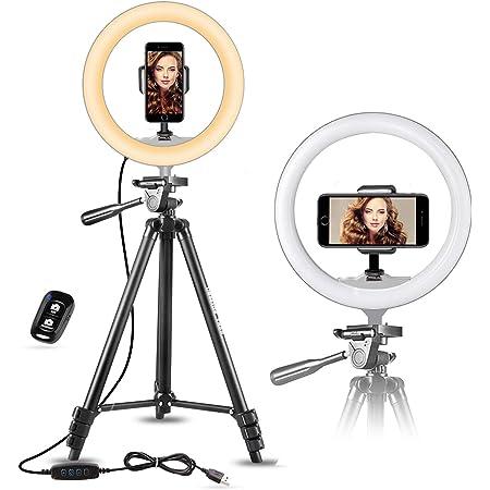 UBeesize - Anello per selfie, 25,4 cm, con treppiede allungabile da 50,8 cm e supporto flessibile per telefono per Live Stream/trucco, mini luce LED da scrivania per video YouTube Cruz V2 Fresh Foam