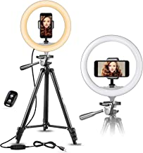 "UBeesize 10"" Selfie Ring Light with 50"" Extendable Tripod Stand & Flexible Phone Holder for Live Stream/Makeup/YouTube Video"